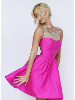 Ball Gown Illusion Neckline Short Hot Pink Taffeta Tulle Beaded Prom Dress