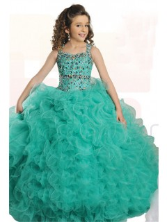 Ball Gown Mint Green Tulle Ruffle Beaded Girl Pageant Prom Dress With Straps