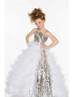 Ball Gown One Shoulder Long Silver Sequin White Organza Ruffle Little Girl Prom Dress