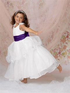 Ball Gown Scoop Floor Length White Organza Flower Girl Dress With Purple Sash Bow
