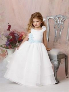 Ball Gown Scoop Floor Length White Organza Flower Girl Dress with Flowers Sash