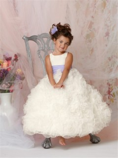 Ball Gown Scoop Floor Length Ivory Organza Puffy Flower Girl Dress With Ruffles