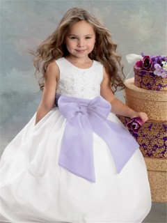 Ball Gown Scoop Floor Length White Satin Embroidered Flower Girl Dress With Bow