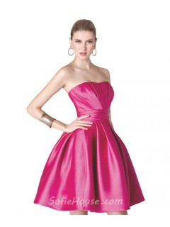 Ball Gown Strapless Hot Pink Ruched Satin Short Party Prom Dress