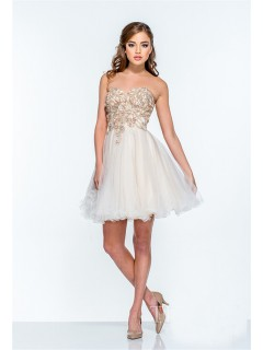 Ball Gown Strapless Ivory Tulle Beaded Mini Tutu Prom Dress