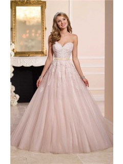 Ball Gown Strapless Sweetheart Dusty Pink Tulle Lace Wedding Dress Gold Sash