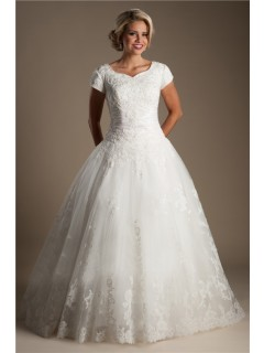 Ball Gown Sweetheart Cap Sleeve Lace Beaded Modest Wedding Dress