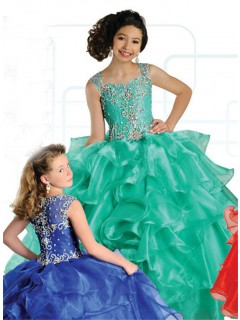 Ball Gown Sweetheart Green Organza Ruffle Beaded Girl Pageant Dress With Straps