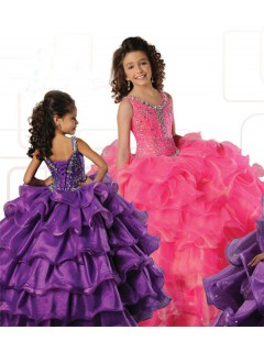 Ball Gown V Neck Hot Pink Organza Ruffle Tiered Girl Pageant Prom Dress