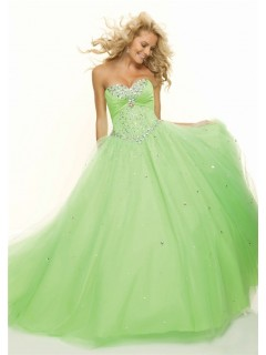 Ball Gown sweetheart floor length light green beaded prom dress
