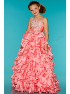 Ball One Shoulder Coral Ruffle Beaded Little Girl Party Dance Dress With Train
