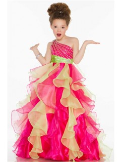 Ball One Shoulder Pink Lime Green Organza Ruffle Sequin Little Girl Pageant Dress
