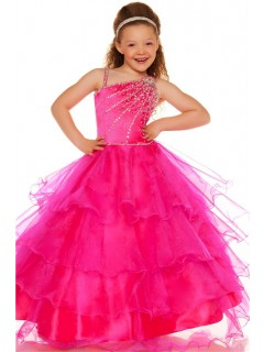 Ball One Shoulder Pink Tiered Organza Ruffle Flower Girl Pageant Dance Dress