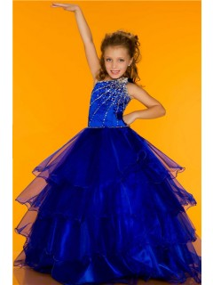 Ball One Shoulder Royal Blue Tiered Organza Ruffle Girl Pageant Party Dance Dress