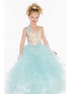 Ball Princess Halter Light Blue Puffy Tulle Beaded Flower Girl Pageant Prom Dress