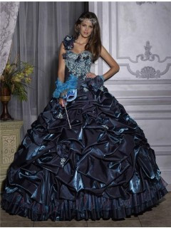 Beautiful Ball Gown One Shoulder Navy Blue Taffeta Quinceanera Dress With Embroidered Beading
