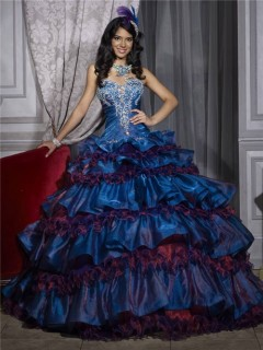 Beautiful Ball Gown Tiered Royal Blue Taffeta Quinceanera Dress With Embroidered Beading