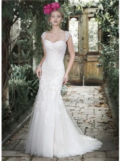 Beautiful Mermaid Sweetheart Lace Corset Wedding Dress With Detachable Straps