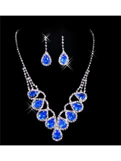 Beautiful blue crystal Wedding Bridal Jewelry Set,Including Necklace and Earrings