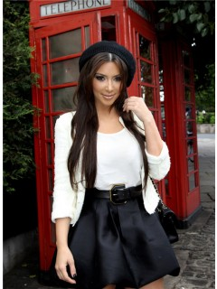 Casual Short/ Mini Kim Kardashian White Black Suit