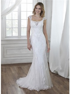 Charming Mermaid Backless Cap Sleeve Lace Beaded Wedding Dress