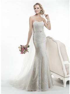 Charming Mermaid Strapless Vintage Lace Wedding Dress With Sash