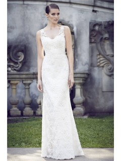 Charming Sheath Illusion Neckline Sheer Back Lace Wedding Dress