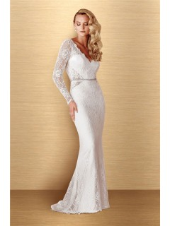 Charming Sheath V Neck Long Sleeve Vintage Lace Wedding Dress