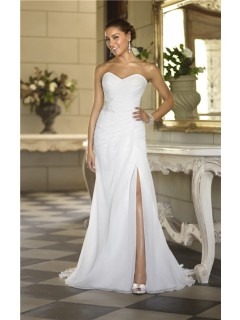 Charming Strapless Chiffon Ruched Corset Garden Wedding Dress With Slit