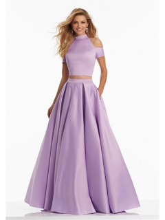 Chic A Line High Neck Two Piece Long Lilac Satin Prom Dress