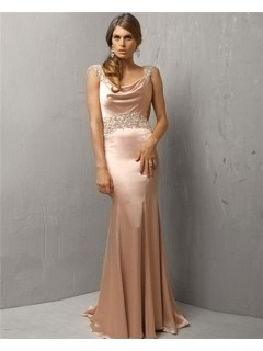 Classic Mermaid Long Peach Pink Silk Beaded Evening Dress With Low Back