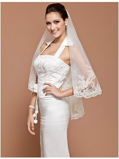 Classic Two Layer Elbow Tulle Lace Wedding Bridal Veil