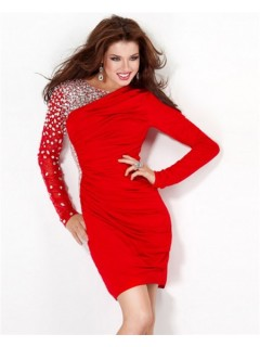 Classy Tight Short Mini Red Jersey Beaded Cocktail Party Dress Long Sleeves