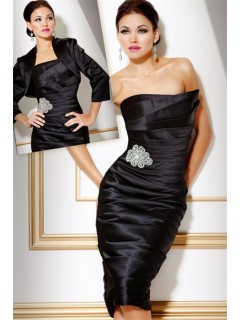 Classy Tight Strapless Short Black Tiered Satin Cocktail Evening Dress With Jacket