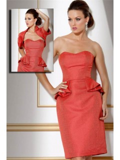 Column Strapless Short Peplum Fitted Cocktail Evening Dress With Bolero Jacket