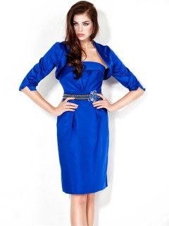 Column Strapless Short Royal Blue Satin Cocktail Party Evening Dress With Jacket