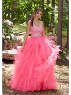 Cute Ball Gown Strapless Hot Pink Tulle Ruffle Prom Dress With Beading