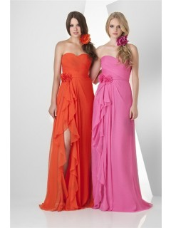 Cute Strapless Sweetheart Long Orange Chiffon Ruffle Party Bridesmaid Dress With Slit Flowers