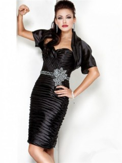 Cute Sweetheart Short Black Tiered Cocktail Evening Wear Dress With Bolero Jacket