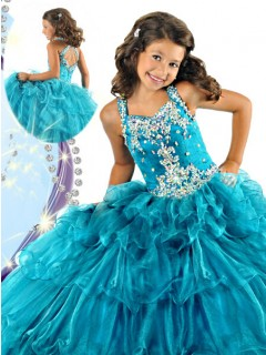 Cute Tiered Teal Blue Organza Ruffle Beaded Little Girls Pageant Party Prom Dress