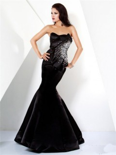 Designer Mermaid Strapless Long Black Satin Beaded Evening Wear Dress