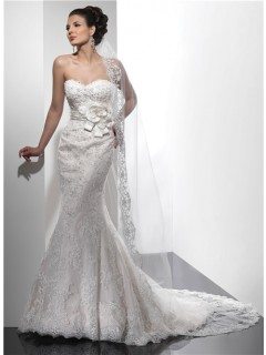 Designer Mermaid Sweetheart Beaded Lace Wedding Dress With Flowers Sash Low Back