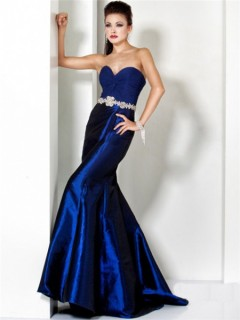Designer Mermaid Sweetheart Long Royal Blue Taffeta Chiffon Evening Wear Dress