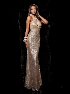 Designer Sheath Halter Long Champagne Gold Sequined Prom Dress Open Back Straps