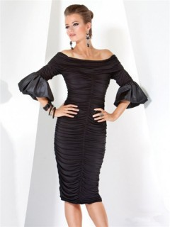 Designer Tight Off Shoulder Short Black Jersey Evening Dress With Sleeves