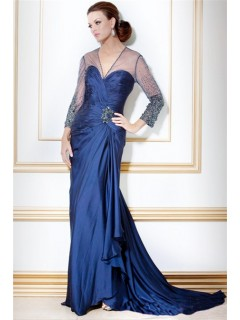 Designer V Neck Long Navy Blue Silk Beaded Sleeve Evening Dress With Train