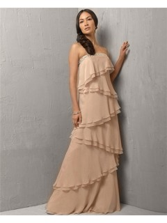 Elegant A Line Strapless Long Champagne Chiffon Evening Dress With Ruffles