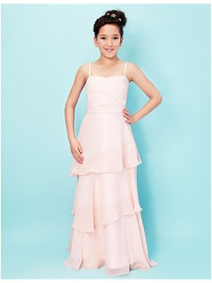 Elegant A line Princess Spaghetti Strap Long Pink Chiffon Junior Bridesmaid Dress