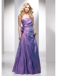 Elegant A line Strapless Long Lavender Purple Wedding Guest Dress