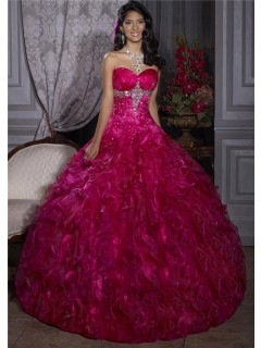 Elegant Ball Gown Red Organza Quinceanera Dress With Beading Ruffles